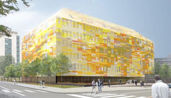CRBS (Centre de recherche en biomédecine de Strasbourg) Photo crédit : Groupe 6/ DeA architectes